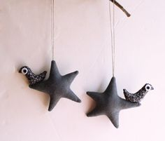 Two grey with birds Felt Decoration wall hanging by Intres on Etsy, $15.00