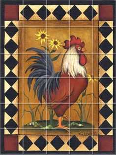 Red Rooster II Kitchen Backsplash Tile Murals