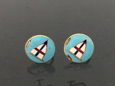 Vintage Jewelry Gold Tone Enamel Boat Earrings by wandajewelry2013 on Etsy