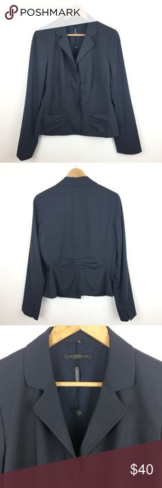 Brand New Elie Tahari Navy Sz 14 Blazer Snap Front Brand new navy Elie Tahari blazer size 14. Hang tag with logo is still attached but paper tag has been torn. 61% poly, 33% viscose, and 6% elastane. Lining is 100% poly. Bust is 42 inches, sleeves are 26 inches, back length is 23.5 inches. Elie Tahari Jackets & Coats Blazers