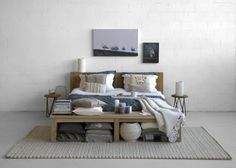 . #scandinavian #bedroom decor Love it. Have never had a bedroom that big so I could have a bench at the foot of the bed though. Would love t