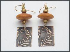 FERN FRONDS  Handforged Embossed Bronze & African Bone Saucer Earrings by sandrawebsterjewelry