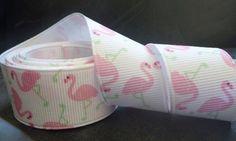 Pink Flamingo Print Grosgrain Ribbon 5 yards 7/8 inch. $4.75, via Etsy.