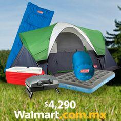 Convive con tu familia en un ambiente natural con este combo para campismo que incluye casa de campaña, 2 sleeping bags, un asador de carbón, una hielera y un colchón inflable.  Walmart.com.mx, Hacemos Clic!