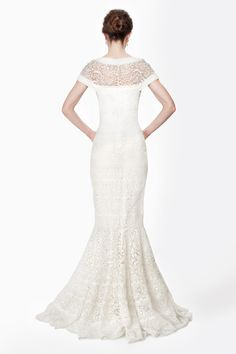 Embroidered Banded Lace Cap Sleeve Circular Skirt Gown in Ivory - Evening Gowns - Evening Shop   Tadashi Shoji