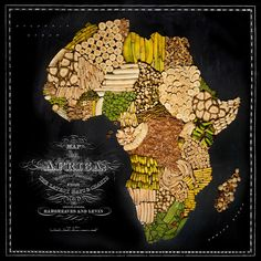 Food map of Africa ~~~ Carte d'Afrique en nourriture ~~~ ~~~ Source : Henry Hargreaves with Caitlin Levin & Sarit Melmed ~~~ Piu Design Recipe Icon, Native Foods, Food Map, Country Maps, Wall Maps, Thinking Day, We Are The World, No Photoshop, Travel Maps