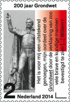 Op deze postzegel staat een foto van het standbeeld van de eedaflegging door…