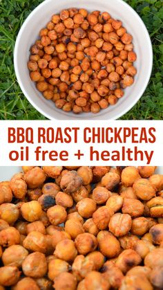 Roast Chickpeas are high in protein and fiber. Made without any oil and the perfect healthy alternative to crispsBBQ Roast Chickpeas are high in protein and fiber. Made without any oil and the perfect healthy alternative to crisps Chickpea Snacks, Healthy Protein Snacks, Nutritious Snacks, Chickpea Recipes, Vegan Snacks, Raw Food Recipes, Appetizer Recipes, Vegetarian Recipes, Healthy Recipes