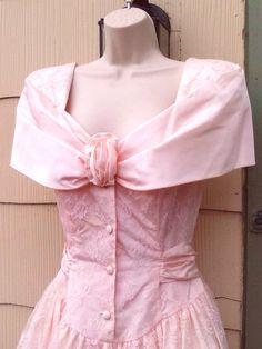 Vintage 1980s Pink Lace Mini Dress Formal by PeachburritoVintage