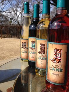 All 4 wines in our Vintage Lane line #txwine #laneboots #burleson