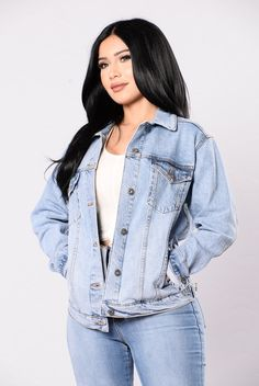 - Available in Medium Wash - Denim Jacket - Over-sized - Side Pockets - 98% Cotton 2% Spandex