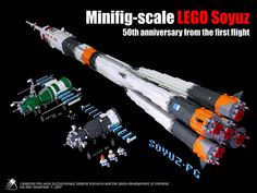 Celebrating the 50th anniversary of the first Soyuz flight with a stunning minifig-scale version of the legendary spacecraft