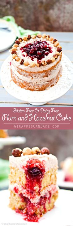 """Plum and Hazelnut Cake - A deliciously tempting mini 6"""" cake that is naturally gluten and dairy free! Moist hazelnut cake with plum filling and dairy free cinnamon frosting. It's delicious and easy to make, with no oil needed!"""