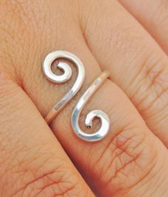 Curly wire ring  sterling silver wire gauge 16  by keoops8 on Etsy, $20.00