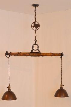 Lone Star State Repurposed Yoke Light Fixture, Repurposed Lighting, Vintage Yoke, Vintage Shades, State of Texas, Ranch Lighting