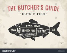 Cut of meat set. Poster Butcher diagram and scheme - Fish. Vintage typographic h. Chicken Icon, Meat Store, Brick Bbq, Metzger, Grilled Steak Recipes, Shellfish Recipes, Butcher Shop, Food Facts, Food Illustrations