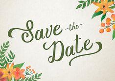 """Stijlvolle """"Save the Date"""" kaart in een vintage bohemian stijl. Met een ouderwets papier look, waterverf bloemen en bijpassende binnenkant. Deze kaart is verkrijgbaar bij #kaartje2go voor €1,89"""