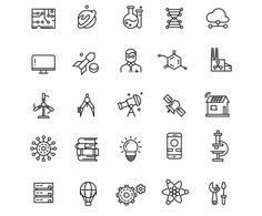 Technologies & science line icons by @Graphicsauthor