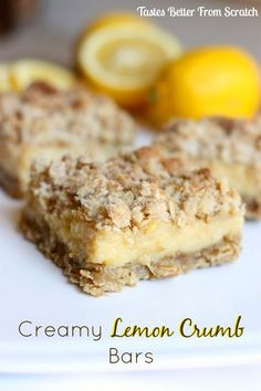Creamy Lemon Crumb Bars are thick and gooey lemon bars with a creamy lemon center and a delicious crumb topping! Pudding Desserts, Cookie Desserts, Cookie Recipes, Dessert Recipes, Bar Recipes, Free Recipes, Lemon Desserts, Lemon Recipes, Just Desserts