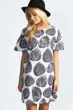 Orlaith Leaf Print Shift Dress at boohoo.com