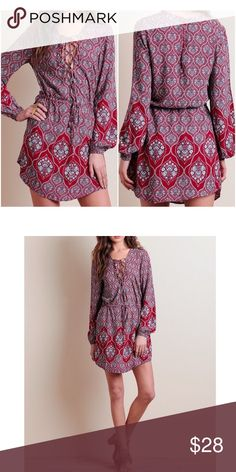 """Pretty shirt dress. Pretty shirt dress. Floral dress.  Straight line. Bust 38"""".  Waist area 38"""" with pull string to fit your waist perfectly.  Hip area 42"""". Length 32"""". So pretty. Dresses"""