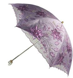 Amazon.com : ZETE Double Folding Sun Umbrella Classical Embroidery Parasol UPF50+ Embroidery and sequins.