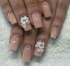 Nude nails are really cute Nail Art Designs, Acrylic Nail Designs, Nail Swag, Bride Nails, Wedding Nails, Gorgeous Nails, Pretty Nails, Ongles Bling Bling, 3d Flower Nails