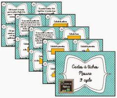 Les créations de Stéphanie: 52 cartes à tâches de mesure Math 5, 5th Grade Math, Fun Math, Math Activities, Daily 3 Math, Cycle 3, Maths Area, Math Blocks, French Education