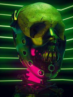 Cyberpunk Aesthetic, Cyberpunk Art, Horror Icons, Horror Films, Arte Horror, Horror Art, Skull Reference, Heavy Metal Art, Horror Themes
