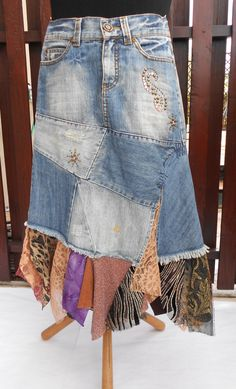 Long Boho skirt, torn tattered fairy, gypsy cowgirl skirt, rustic skirt  Eco-Friendly, Recycle Clothing for Women, Size S by SwiezaKoszula on Etsy