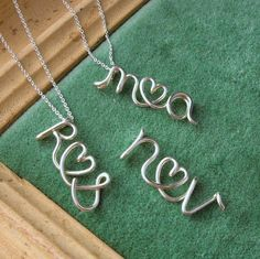 two lovers initial necklace