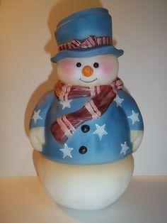 Fenton+Glass+Snowman+Fairy+Light+Lamp+Patriotic+Stars+&+Stripes+LE+GSE+#6+of+6