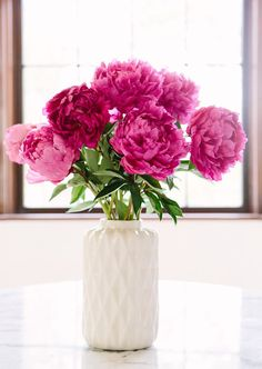 Light and dark pink peonies in white vase // spring flowers