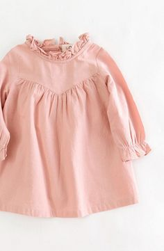 Sweet Ruffle Neck Toddler Dress