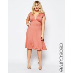 ASOS CURVE Belted Midi Dress With Plunge Neck (205 DKK) ❤ liked on Polyvore featuring plus size women's fashion, plus size clothing, plus size dresses, pink, plus size, plunge neck dress, mid calf dresses, white belted dress and plunging neckline dress
