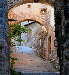 A Good Thing Happened, mostlyitaly: Navelli (Abruzzo) by on. Travel Around The World, Around The Worlds, Stone Cottages, Forest Path, Old Street, Stairway To Heaven, Travel Channel, Famous Places, Grand Tour