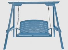 Our Harmony Swing Seats are usually painted in more muted colours, but we think this really works, Farrow & Ball's St Giles Blue