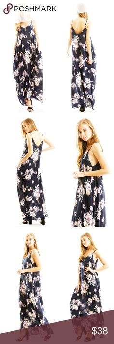 Navy Floral Spaghetti Strap Maxi Maxi is navy with a soft white, pink and violet floral pattern and side pockets. Spaghetti straps are adjustable in back, and fabric is light and airy. EVIEcarche Dresses Maxi