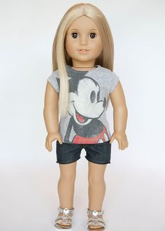 American Girl doll upcycled vintage Mickey by EverydayDollwear, $10.00
