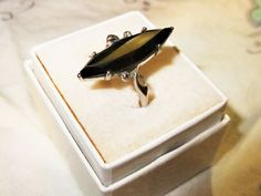 OMG Black Alaskan Diamond Ring in 10K White Gold Size 7-3/4 to 8 Vintage Ring Exquisite by ThriftyMidge on Etsy