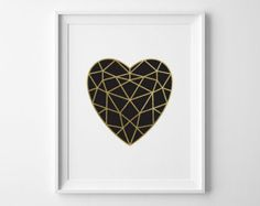 Girlfriend Gift Valentines Day Gift Gold Heart by SweetPeonyPress