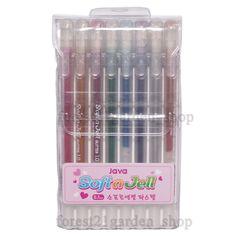 Java  Duplex Soft n Jell Pastel Glitter Gel ink Pen - 1.0mm - 8 Color - 1 Sets #Java