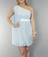 One sleeve chiffon dress