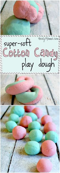 This is such an awesome and easy no-cook recipe for super-soft play dough that smells like cotton candy. And it's taste-safe, too! Genius,