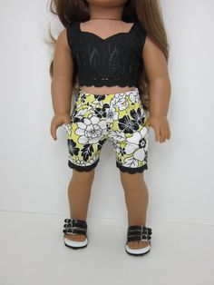 Handmade 18 doll clothes -Black crop top with yellow, white & black…
