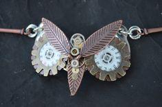 SALE steampunk owl bracelet ooak gears watch by gildedingypsy