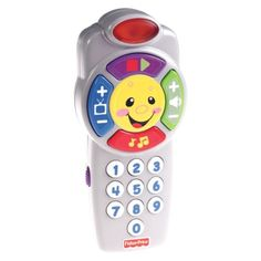 This was my baby's first electronic toy, and he still plays with it at 18 months. $10 as of November 2013.