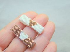 White heart on copper Seed Bead Ring Casual by ElephantBeads
