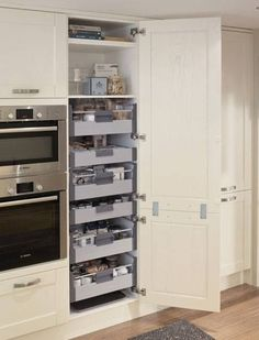 24 Super Fresh & Clever Kitchen Storage Ideas in 2018 Kitchen Storage Ideas for… – Kitchen Pantry Cabinets Designs Update Kitchen Cabinets, Kitchen Cabinetry, Kitchen Larder Cupboard, Kitchen Countertops, Kitchen Cabinet Shelves, White Kitchen Cupboards, Airing Cupboard, Soapstone Kitchen, Corner Cupboard