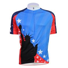 (38.24$)  Buy here - http://aidpy.worlditems.win/all/product.php?id=32792975378 - Blue Statue of Liberty Alien SportsWear Mens top Sleeve Cycling Jersey Cycling Clothing Bike Shirt Size 2XS TO 5XL